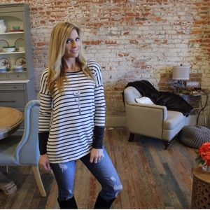 Tops - ▪️ Black and ivory striped suede cuff tunic